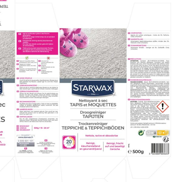 Dry-cleaner for rugs and carpets starwax